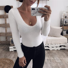 6db50d46955 female jumpsuits ladies overalls playsuit plush slim white bodysuit women o  neck sexy long sleeve autumn winter body rompers