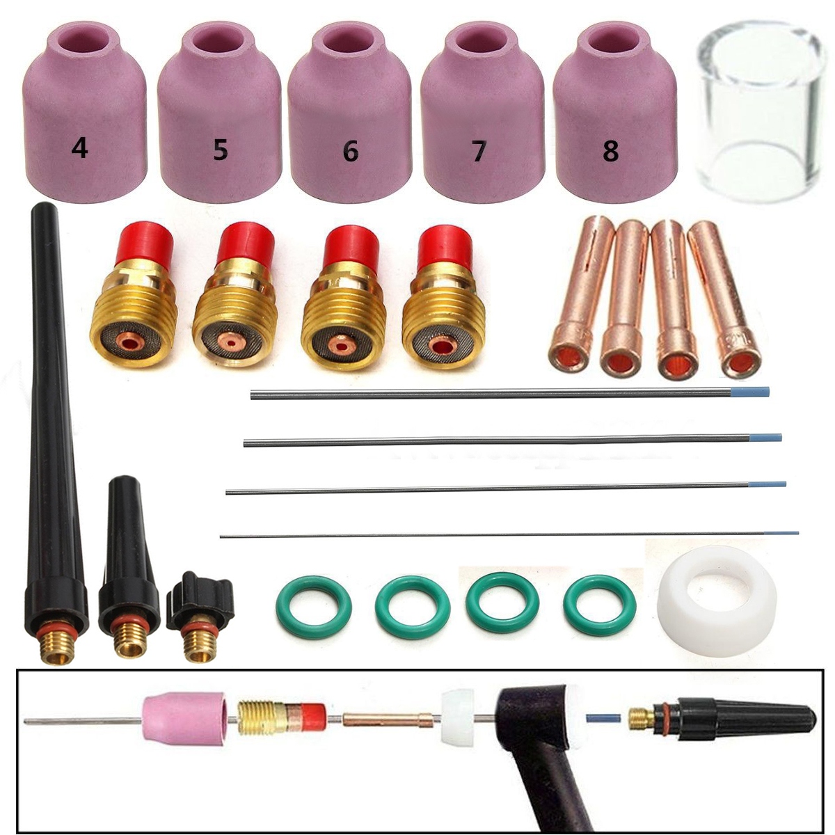 26pcs Tig Gas Lens Kit Welding Torch Nozzle Cup Tungsten Gas Lens WL20 Kit For TIG WP-17/18/26