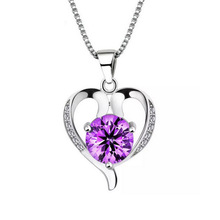 100% 925 sterling silver romantic love heart shiny crystal ladies`pendant necklaces jewelry short box chain female gift women