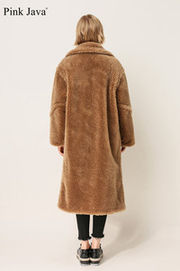 Image 4 - PINK JAVA QC1848 new arrival free shipping real sheep fur coat long style wool coat camel teddy coat over size winter women coat