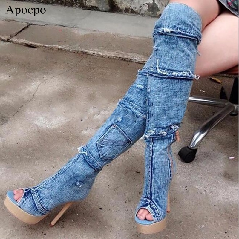Women Hole Denim Boots Summer Autumn Peep Toe Over The Knee Boots Quality High Elastic Jeans Fashion Boots High Heels M119 high waist jeans rushed cotton zipper fly high plaid loose 2016 korean women summer new straight scraping hole cutoff jeans