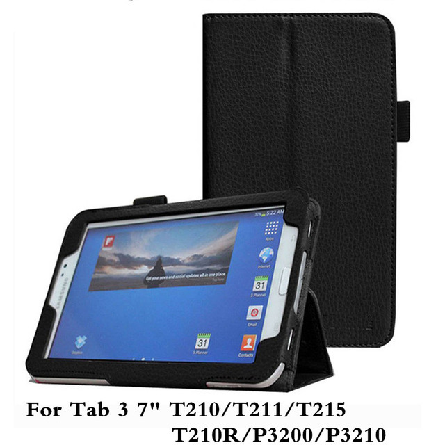 Lichee Pu Leather Tablet PC Case Stand Design Cover For Samsung Tab 3 7.0 T210R SM-T211 T210 Screen Protector Film Pen As Gifts