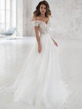 Smileven Wedding Dress Off The Shoulder Appliqued Bride Dresses A Line Elegant Lace Bridal Gowns 2019