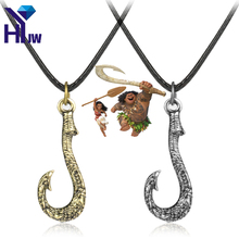 2 Colors Moana Necklace Maui Fishing Hook Pendant with Leather Rope Tuna Hook Pendant Hei Matan Fish Hook Anime Movie Jewelry