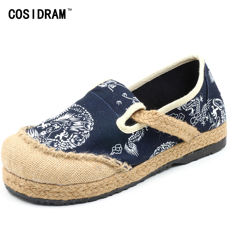 Hemp Linen Canvas Women Flats Spring Women Casual Shoes Chinese Style Printing Slip On Plimsolls Female Ladies Footwear SNE-167 vintage embroidery women flats chinese floral canvas embroidered shoes national old beijing cloth single dance soft flats