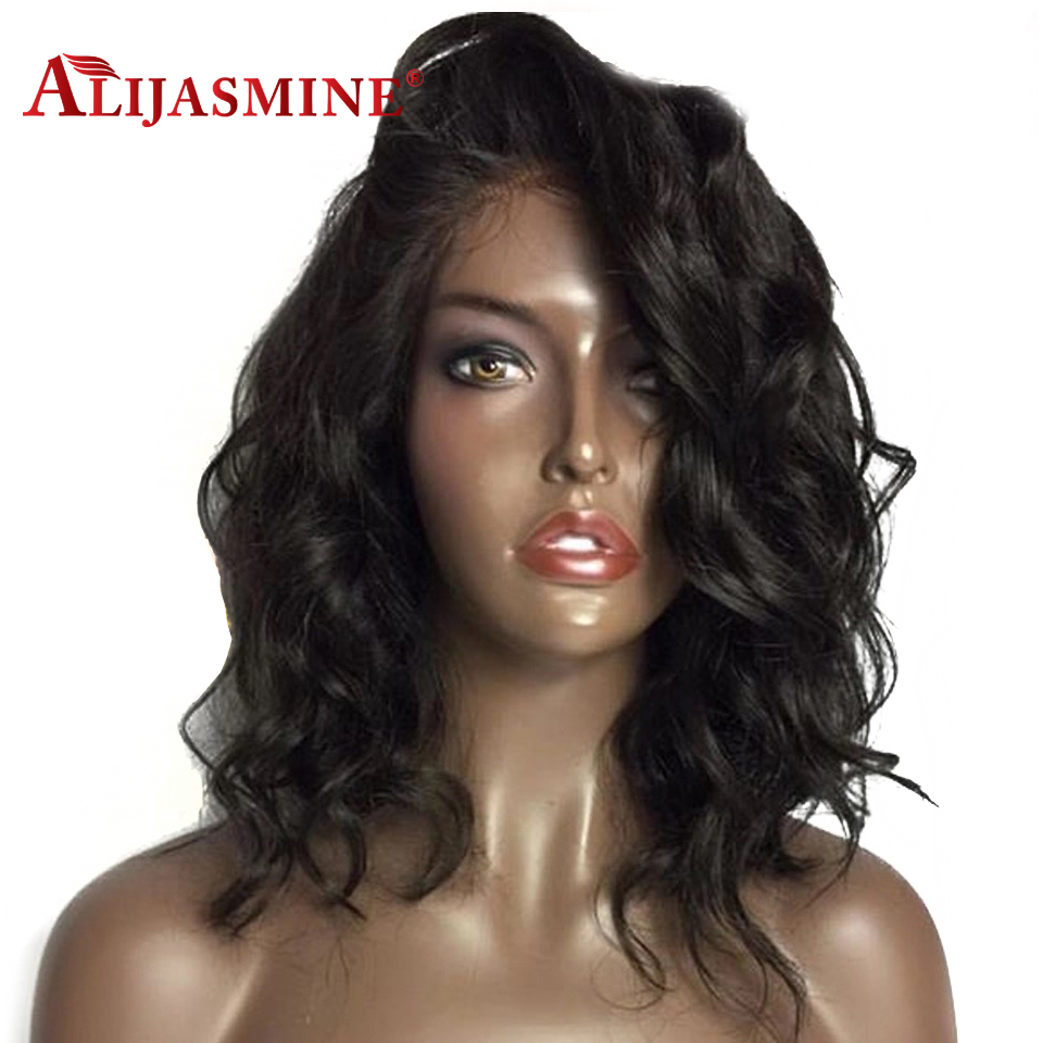 Short Bob Lace Front Human Hair Wigs Peruvian Remy Loose Wave Pre Plucked With Baby Hair