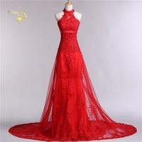 Jeanne Love Halter 2016 New Design Vestido De Festa Lace Red Formal Long Evening Dresses Robe