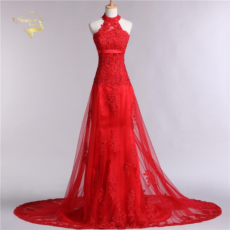 Jeanne Love Halter 2019 Новий дизайн Vestido De Festa Мереживо Червоний Формальні довгі вечірні сукні Robe De Soiree JLDT0982