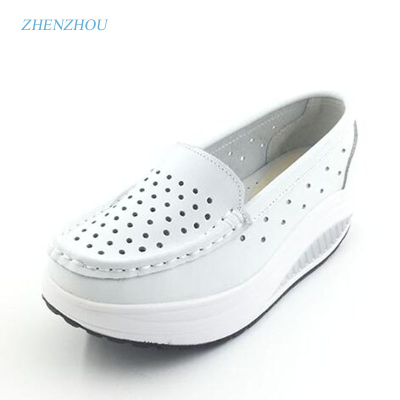 New 2017 Summer genuine leather cutout breathable swing shoes white nurse shoes wedges heighten shoes mother shoes sandals