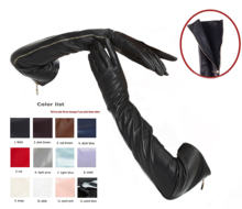 custom made 30cm to 80cm long top sheep leather side real open zipper long gloves multi colors