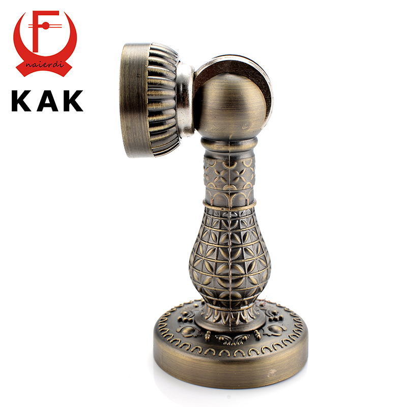 KAK Fashion Bronze Retro Design Zinc Alloy Magnetic Door Stop Stopper Holder Catch Floor Fitting With Screws For Family Home Etc retro feather style zinc alloy keychain bronze