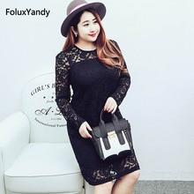 Fit and Flare Dress Women Plus Size 3 4 5 6 XL Casual Slim Long Sleeve Lace Dress Black Mini Vestidos OLL64-620