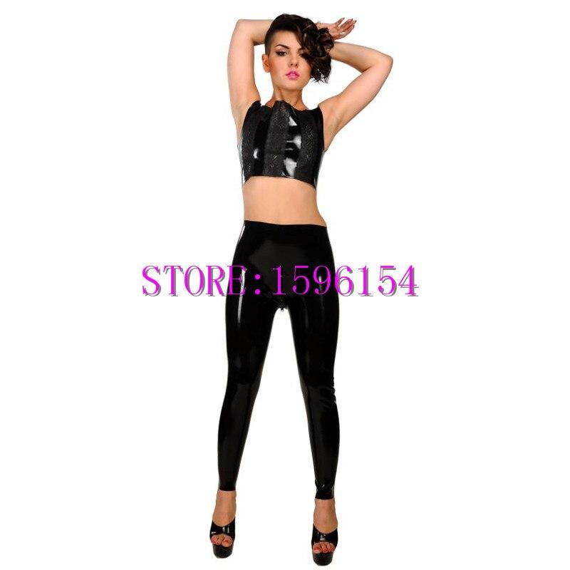 Pantalons en Latex noir de mode pantalons Leggings en caoutchouc Sexy avec fermeture à glissière entrejambe grande taille offre spéciale S-XXXL