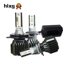 HLXG 2Pcs Mini 6000K CSP H3 H4 LED H7 9005 9006 Car Headlights 48W 8000LM HB4 Fog lights H8 H1 H11 led 12V light bulbs 9012 HIR2(China)