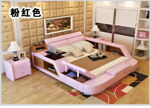 Genuine Leather Bed Frame w/ Storage  1