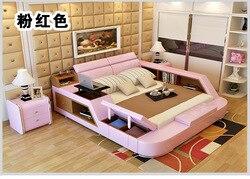 Prawdziwe łóżko z prawdziwej skóry rama nowoczesne miękkie łóżka z przechowywania meble do sypialni cama muebles de dormitorio/camas quarto