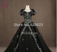 DAW1523 Wholesale Sleeves Black Gothic Wedding Dresses With Jacket Ball Gown White Embroidery Church Wedding Bridal