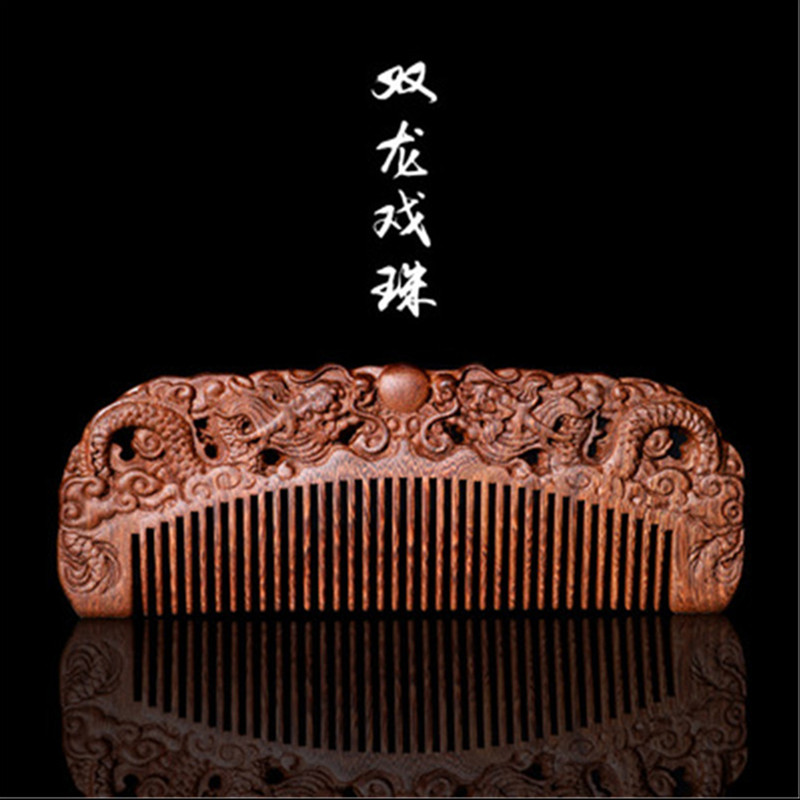 Professional Health Care Comb Anti-static Massage Sandalwood Comb Handmade Hair Brush Wedding/ Birthday Gift Freeshipping professional health care comb anti static massage black sandalwood comb handmade beauty lotus seed hair brush