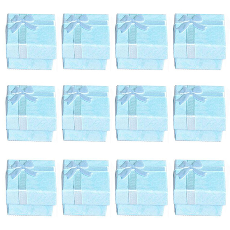 12pcs Blue Fashion Jewelry Display Cases Cube Jewelry Ring Earrings Bangle Gift Boxes Cutely Small Gift Box