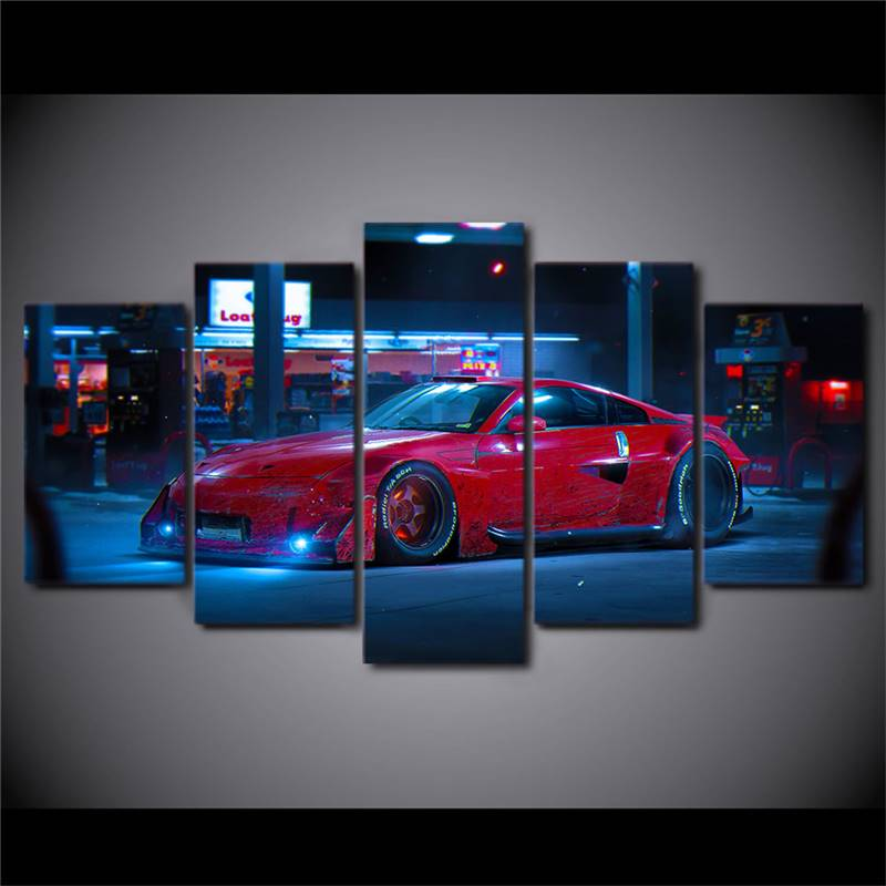 Modern Canvas Painting Hd Printing Poster 5 Pieces Wall Art Red Sports Car Street Night View Living Room Home Decor drop ship