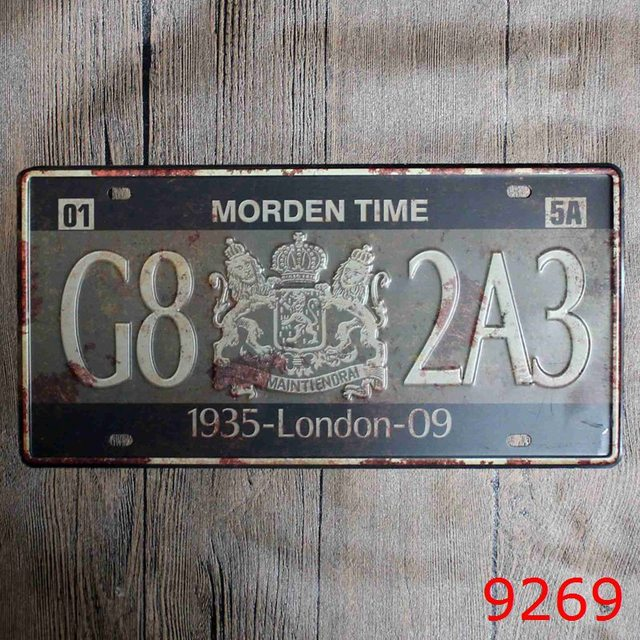Car License LONDON TIME Vintage Home Decor Tin Sign for Arto Store ...