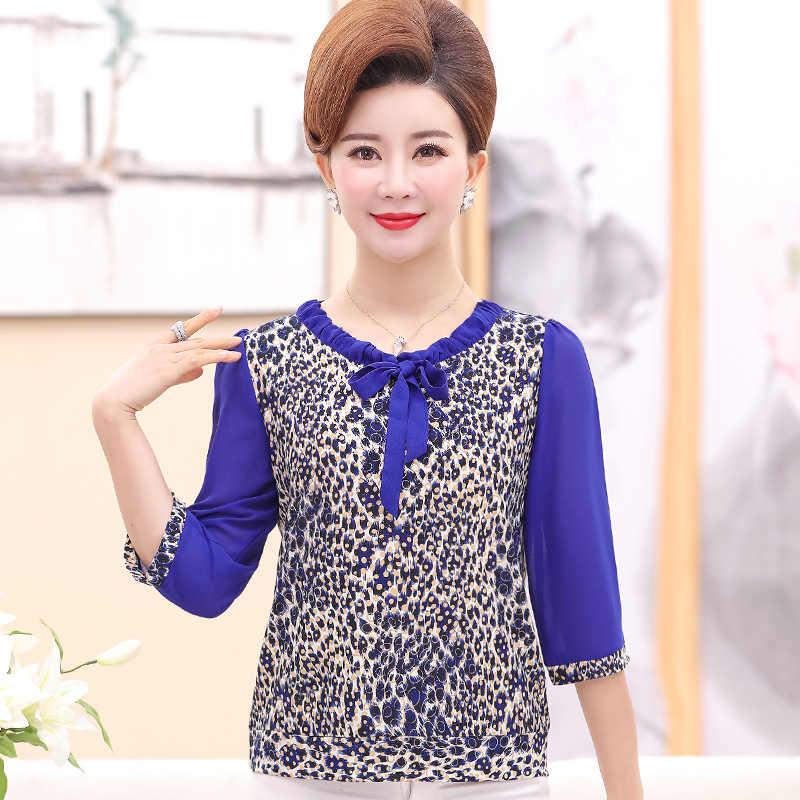 Blusas de verano para mujer blusas de crepé con estampado de leopardo azul caqui blusas femeninas de manga corta con lazo cuello redondo túnica mujer blusa Casual 2019