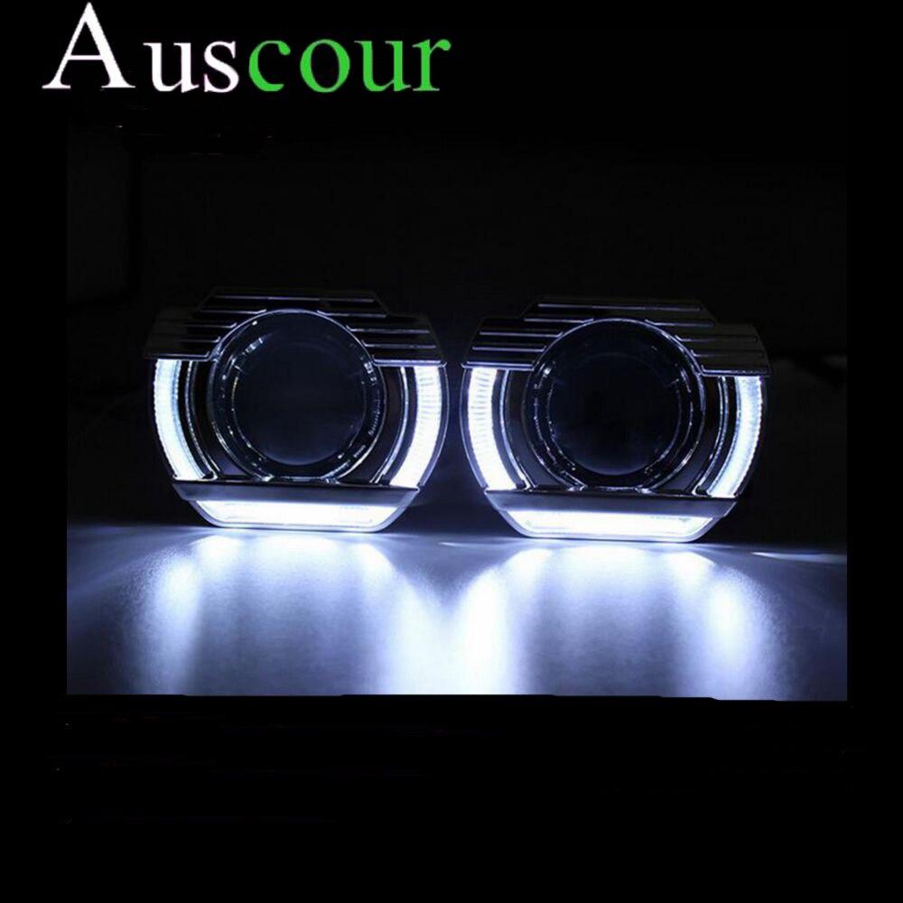 2.5inch car styling bixenon Projector lens led day U shape DRL angel eyes car assembly kit fit for h1 h4 h7 xenon bulb model ownsun superb u shape led headlight angel eye projector lens for vw tiguan 2010 2012 model