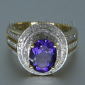Vintage Oval 7x9mm Solid 14K Yellow Gold Purple Amethyst Engagement Ring, Diamond And Natural Amethyst Rings For Women BAB1417