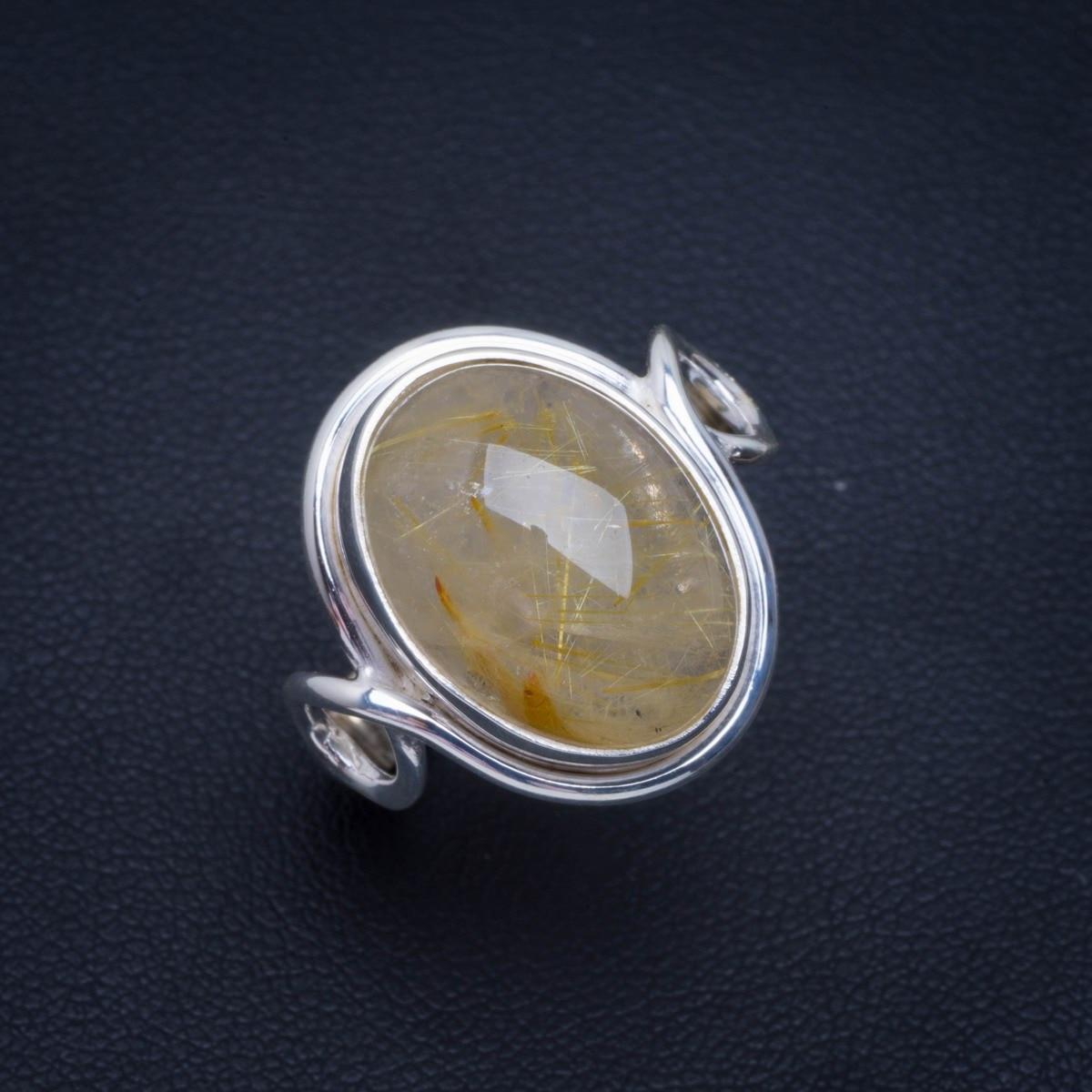 Natural Golden Rutile Handmade Unique 925 Sterling Silver Ring 8.5 B1018Natural Golden Rutile Handmade Unique 925 Sterling Silver Ring 8.5 B1018