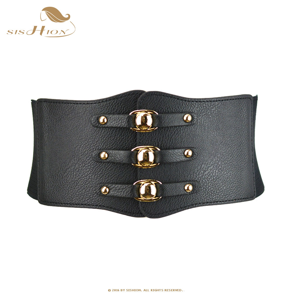 SISHION Women Belt Black White Red Brown Wide Elastic Belts Leather Cummerbunds VB0022