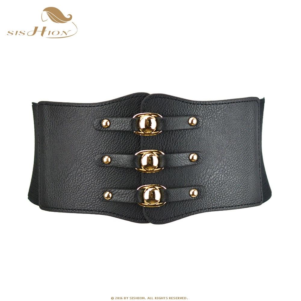 SISHION Women Belt Black White Red Brown Wide Elastic Belts Leather Cummerbunds VB0022