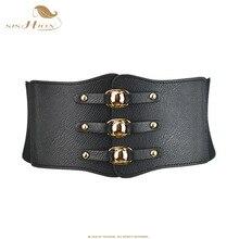 SISHION Women Belt Black White Red Brown wide elastic belts