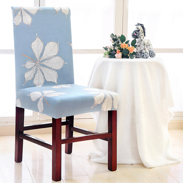 new removable spandex stretch printed dining chair cover for restaurant kitchen chair home decor short chair - Kitchen Chair Covers