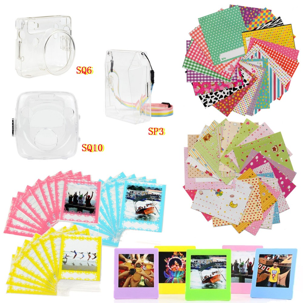 6 in 1 SQUARE Film Accessories Set Transparent Protective Case Photo Frame Stickers Photo Storage Bag for SQ10 SQ6 SP3 in Camera Video Bags from Consumer Electronics