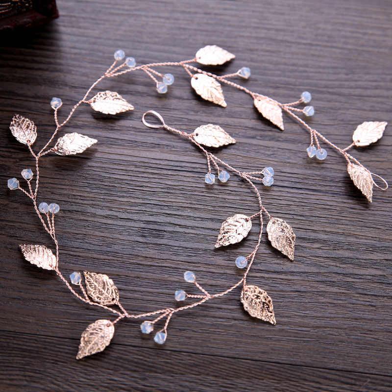 Or Rose opale feuille vigne tiare bandeaux mariage mariée cheveux bijoux accessoires doux bricolage tête chaîne pour mariée cheveux ornements
