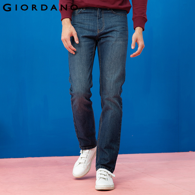 53769a7778c Giordano Hombres Jeans Pantalones Casual Denim Clásico Whiskering Straight  Jeans Masculina Masculina Pantalones de Mezclilla de
