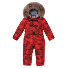 Baby Girls Warm Down Jacket Russia Winter -25 Degree Boys Rompers Thicking Suit Hoodie Children Outerwear Jackets Coats