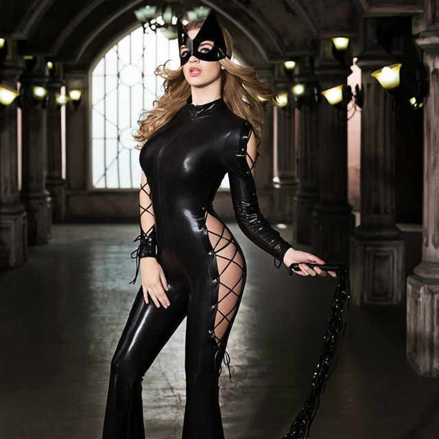 68e614edcbc Fashion New Faux Leather Catwoman Zipper Jumpsuit for Adult Woman Halloween  Carnival Cat Girl Cosplay Costumes with Mask 9733