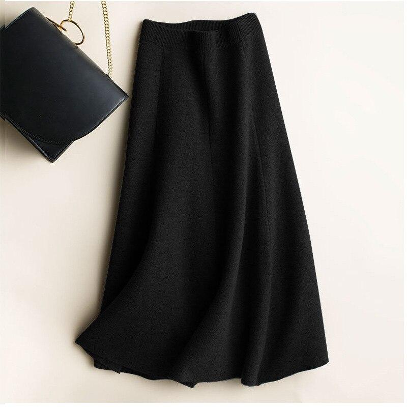 Women Autumn Winter Warm Knit Skirts Midi Woolen Skirt Korean Style A-line Woman Office Skirt Jupe Vintage Black Gray Skirt