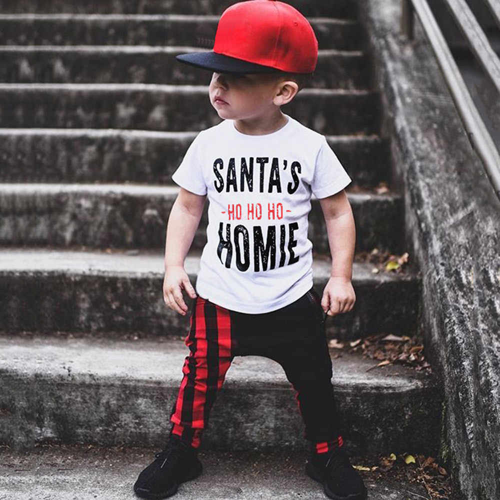 Baby T Shirt Toddler Baby Kids Boys Girls Christmas Short Sleeve Letter Print Tops Outfits  Fashion Casual Tops