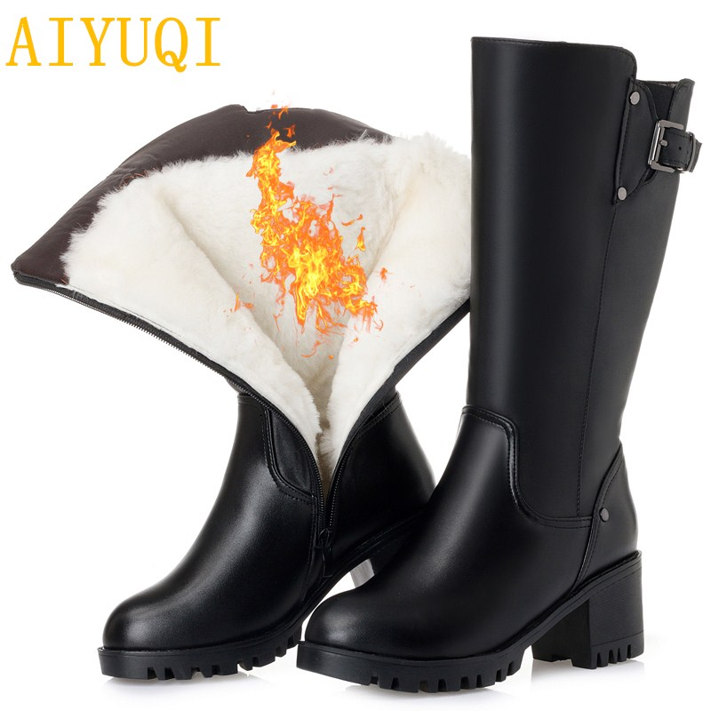 AIYUQI 2018 חדש אמיתי עור נשים חורף מגפי, חם עבה צמר נשים שלג מגפי, גודל גדול 41 42 43 עקב גבוהה חורף מגפיים