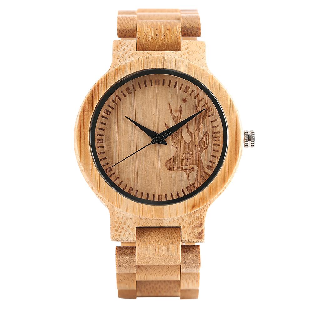 Full Bamboo Wooden Watches for Men Women Buck Hunting Style Deer Head Pattern Quartz Wristwatch Bamboo Band Watch Male Female цена