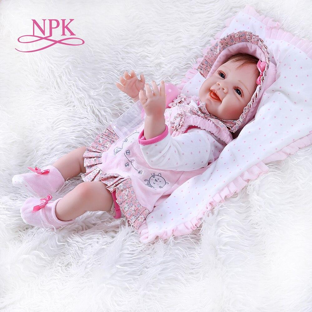 Oyuncaklar ve Hobi Ürünleri'ten Bebekler'de NPK52CM yenidoğan gülümseme yüz mutlu gerçekçi bebe bebek yeniden doğmuş bebek gerçekçi yumuşak dokunmatik ağırlıklı vücut el köklü saç yüksek kalite'da  Grup 1