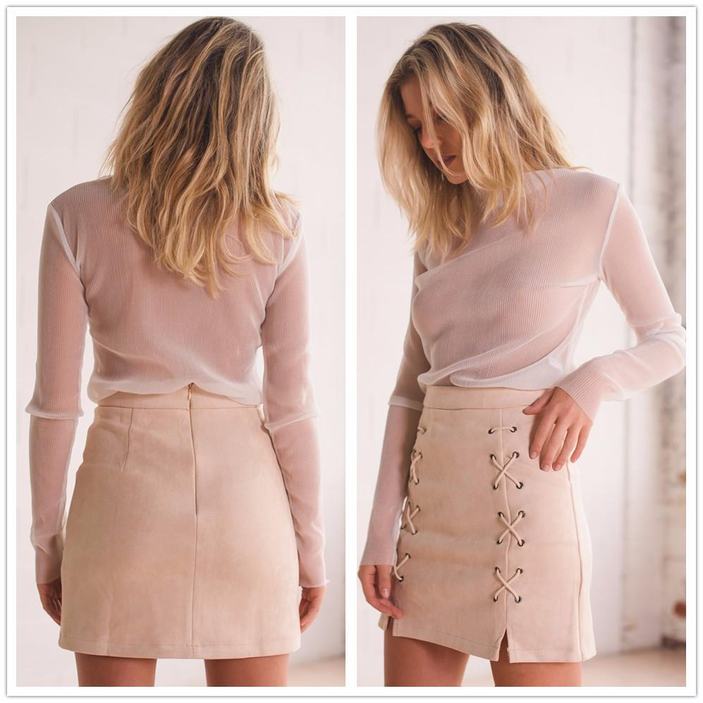 HTB1ER.8NFXXXXaYaFXXq6xXFXXXl - FREE SHIPPING line High Waist Suede Leather Skirt Women Solid Lace up JKP299
