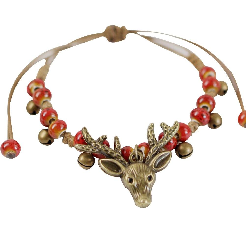 Christmas Deer Head Ceramic Beads Bracelet Women Handmade Ethnic Style Jewelry