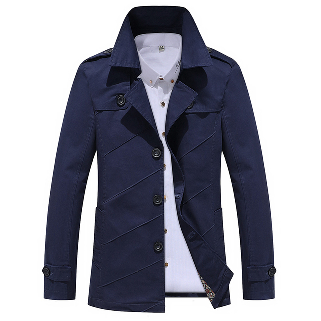 2019 Moda autunno di colore puro Casual cappotto di trincea/di qualità maschio lunga in Puro cotone di alta qualità Uomo Giubbotti Uomini Anziani s 'Top