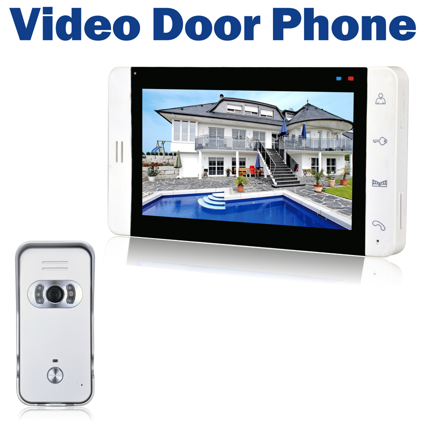 Wired Video Door Phone 7 LCD Monitor Touch Button 700TVL IR Camera Night Vision Doorbell Intercom System 7tft lcd free disturb wired audio video door intercom system with night vision monitor doorbell for 10 apartments of 1 building
