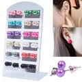 Hot selling Women's 12 Pair Ear Stud Faux Pearl Round Ball Earrings Set Eardrop Multi-color  5LLO