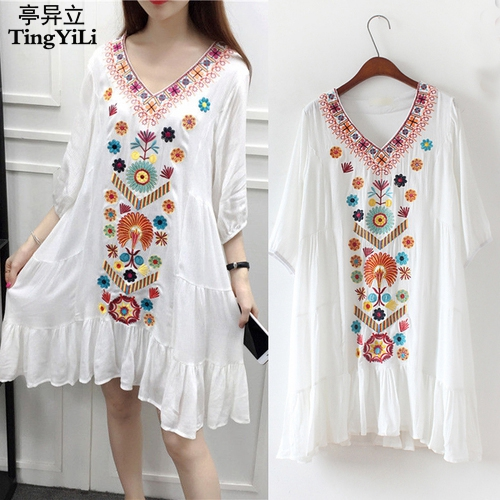 TingYiLi bordado bohemio playa vestido Vintage Floral étnico mujeres vestido  verano negro rojo Beige azul blanco corto vestido en Vestidos de La ropa de  las ... ef0a5343b070