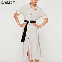 Summer New European Long Striped Shirt Dress With Belt Casual Loose Double Pockets Lady Long Dress